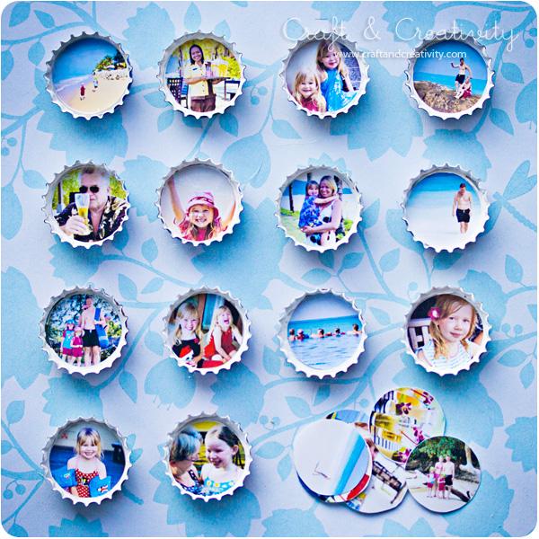 Fotoramar av kapsyler bottle cap photo frames craft for Diy bottle cap crafts