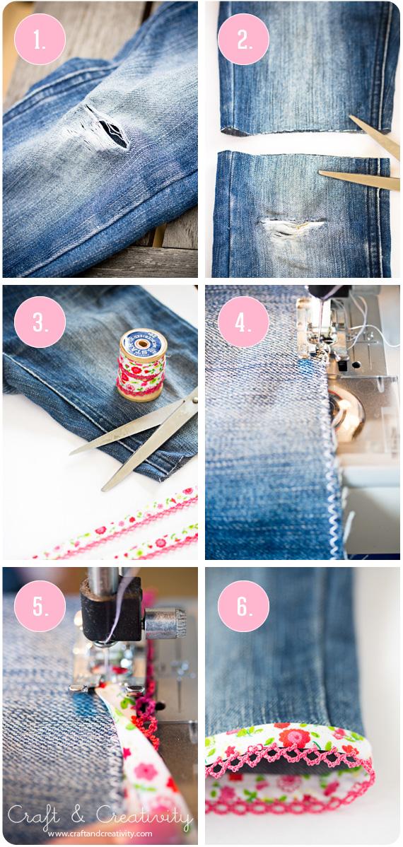 Slitna jeans blir till shorts – Turning torn jeans into shorts | Craft & Creativity – Pyssel & DIY