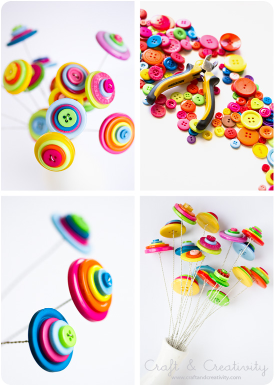 Button flowers - by Craft &amp; Creativity