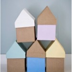 Painted papier maché houses - by Craft & Creativity
