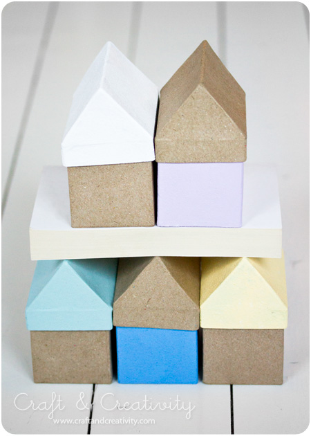 Painted papier maché house boxes - by Craft & Creativity