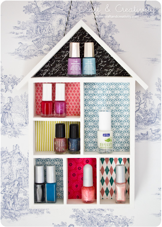 Nail polish shelf (decorated with washi tape) - by Craft &amp; Creativity