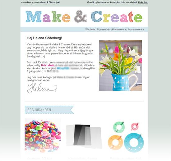 Make & Create - Nyhetsbrev