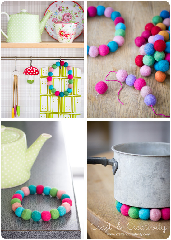 Wool bead trivets - by Craft & Creativity