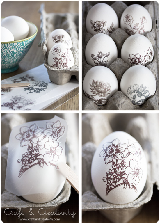 Rub-ons on Easter eggs - by Craft & Creativity
