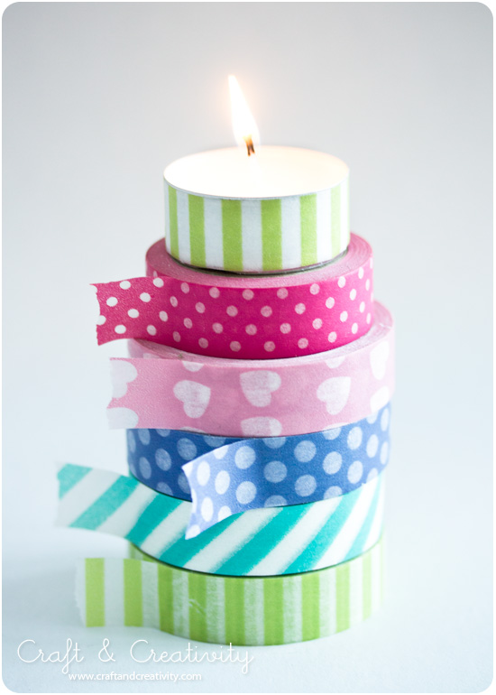 Washi taped tea lights - by Craft &amp; Creativity