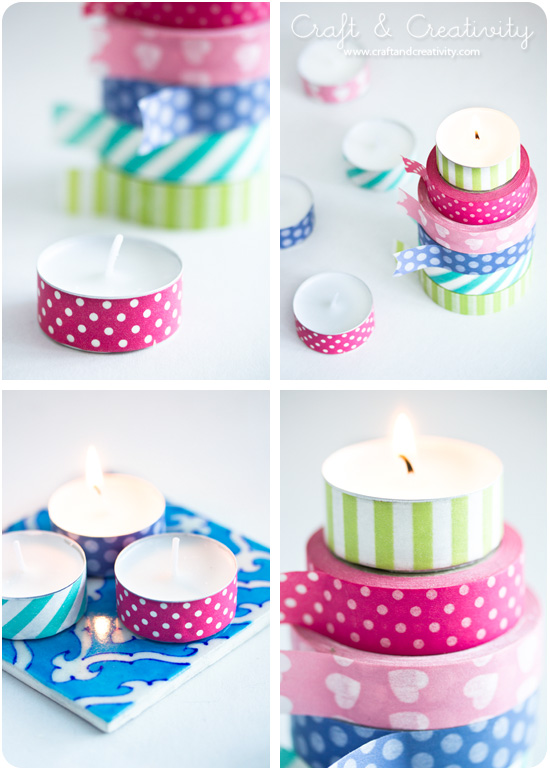 Washi taped tea lights - by Craft & Creativity