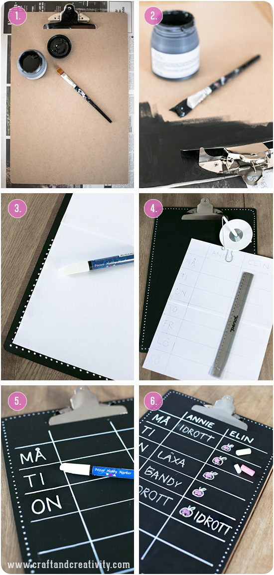 Clipboard with blackboard paint - by Craft & Creativity