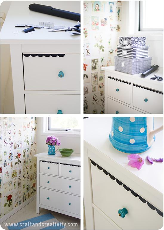 Blackboard foil on drawers - by Craft & Creativity