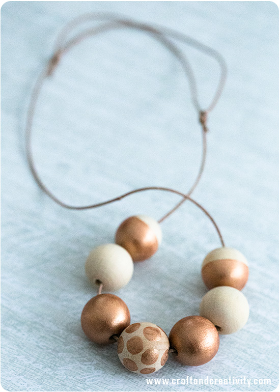 Copper painted wooden necklace - by Craft & Creativity