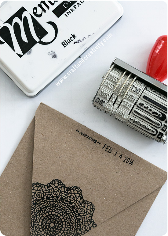 Doily stamped card & envelopes - by Craft & Creativity