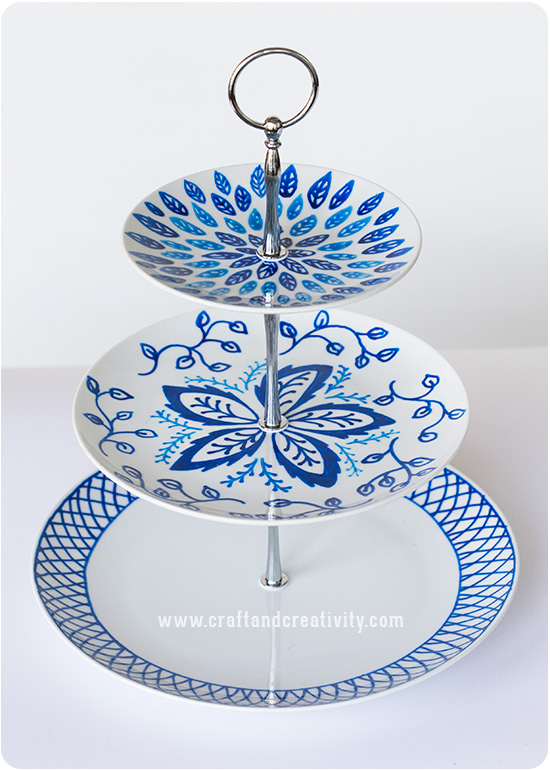 Hand painted cake stand - by Craft & Creativity