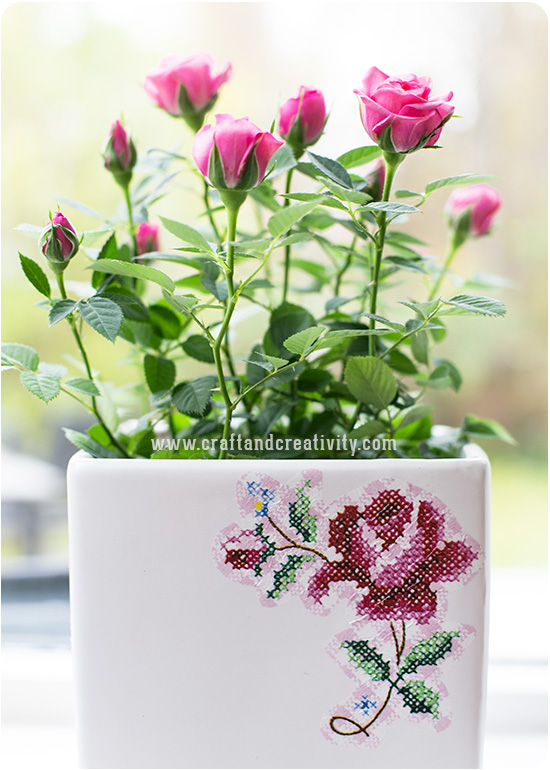 Napkin decoupage on flower pot - by Craft & Creativity
