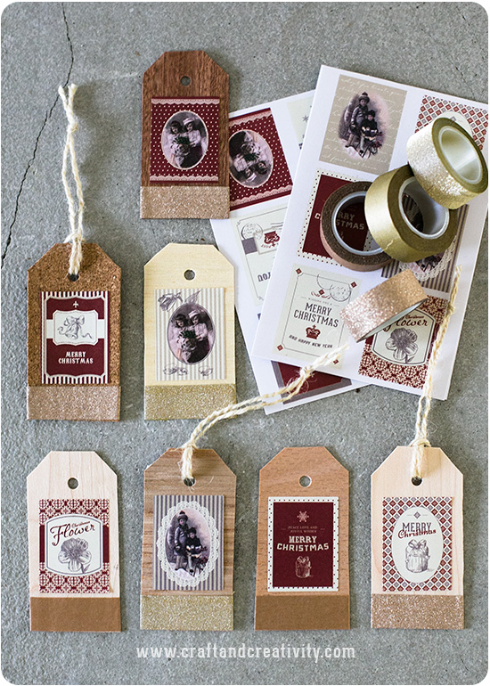 handmade wood and cork gift tags decorated with washi tape and christmas card toppers