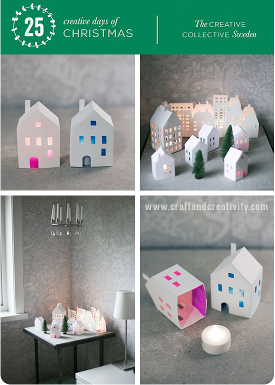 Day 3: Tea light paper houses (free template) - 25 creative days