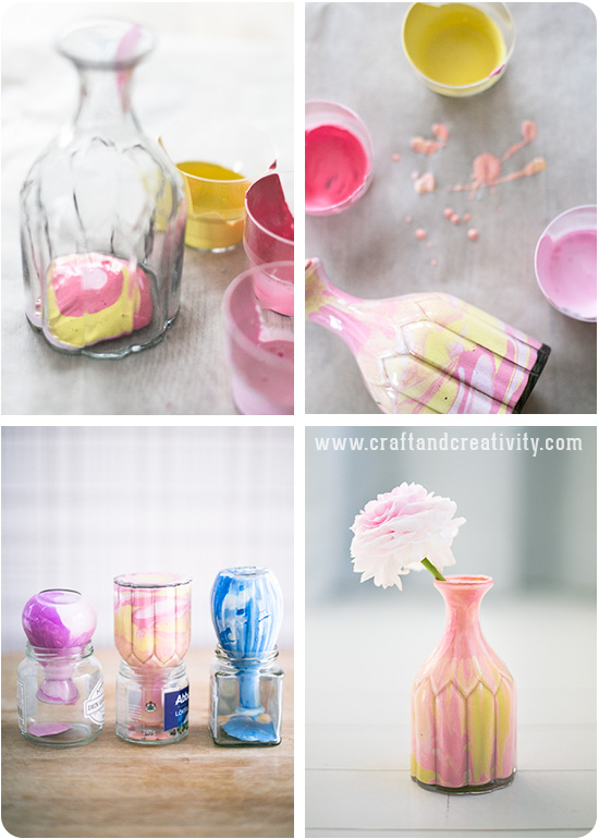 Marbled glass vases - by Craft & Creativity