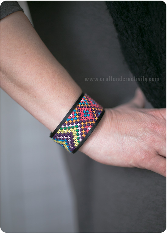 Cross-stitch cuff bracelet - by Craft & Creativity