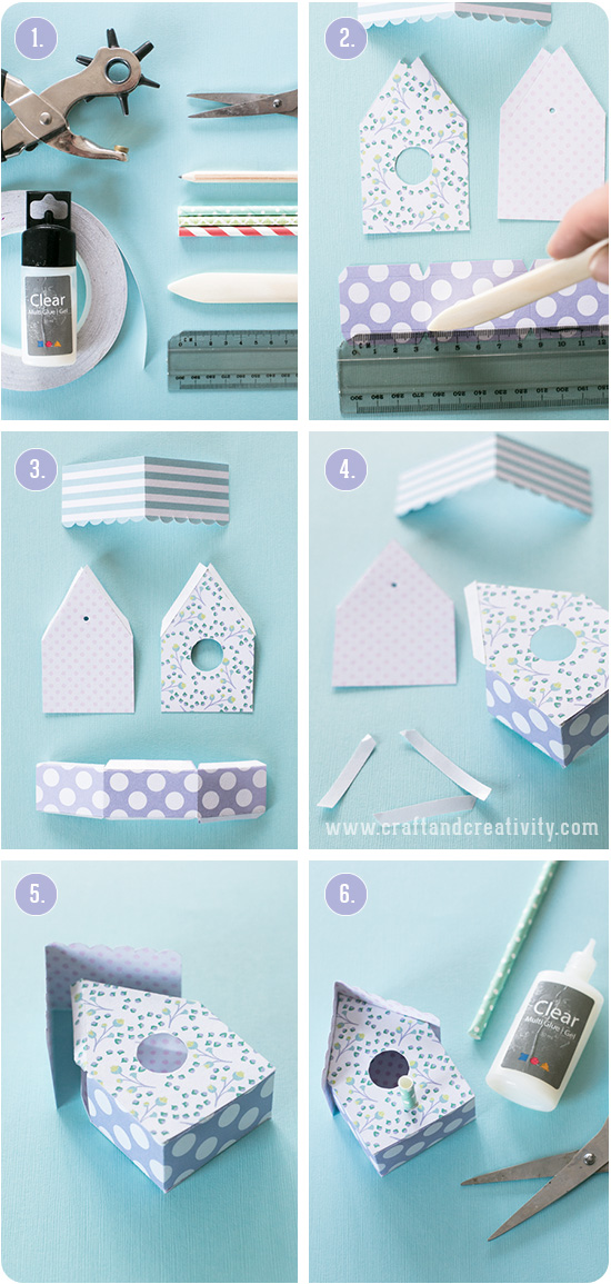 Fågelhus i papper med mall – Paper birdhouse with template | Craft & Creativity – Pyssel & DIY