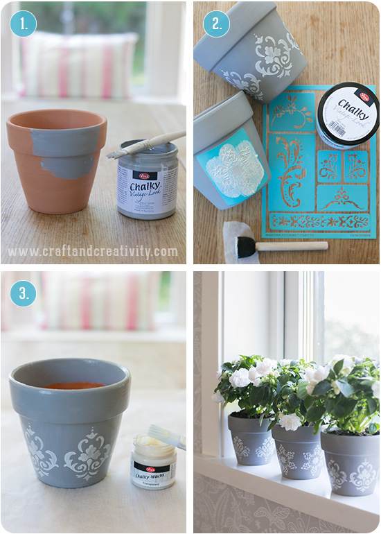Stencil painted pots - by Craft