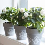 Stencil painted pots - by Craft & Creativity