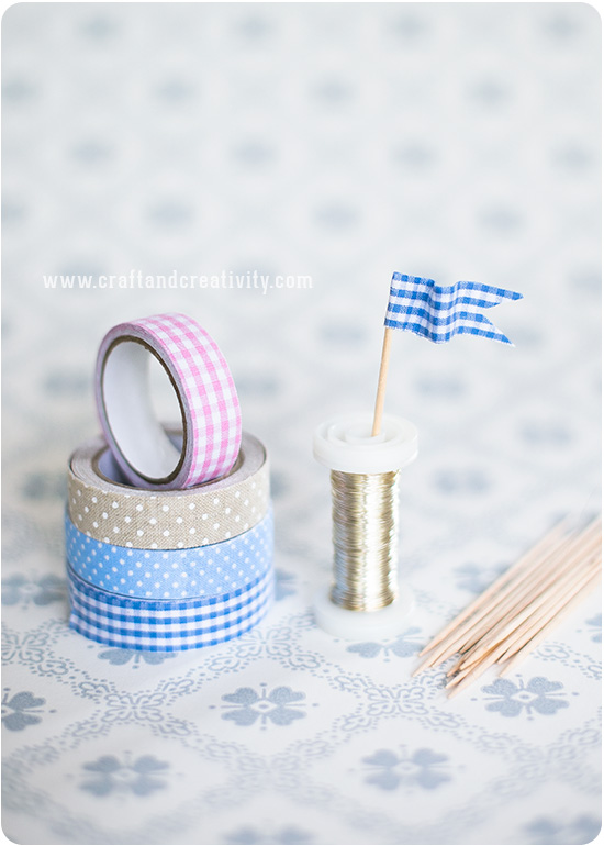 Fabric tape cupcake toppers - by Craft & Creativity