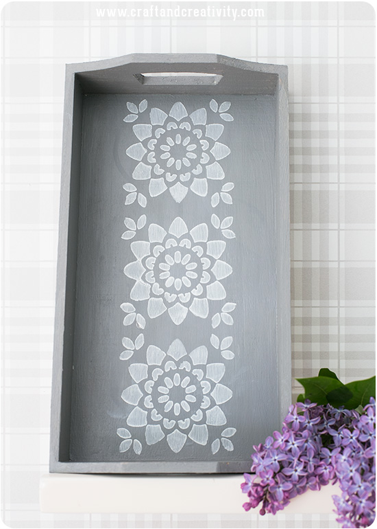 Stencil painted tray - by Craft & Creativity