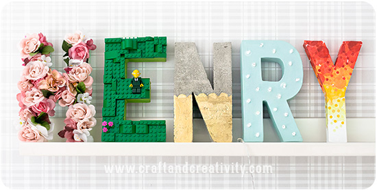 Decoupage on paper mache letters - by Craft & Creativity