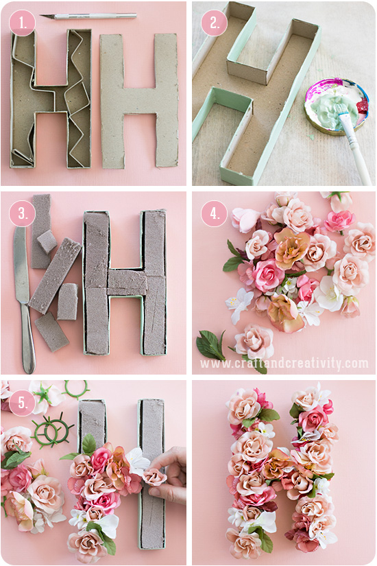 pappbokst ver med blommor paper mache letters with flowers craft creativity pyssel diy. Black Bedroom Furniture Sets. Home Design Ideas
