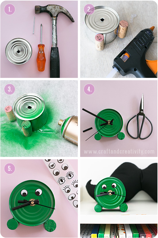 Tin can clock - by Craft & Creativity