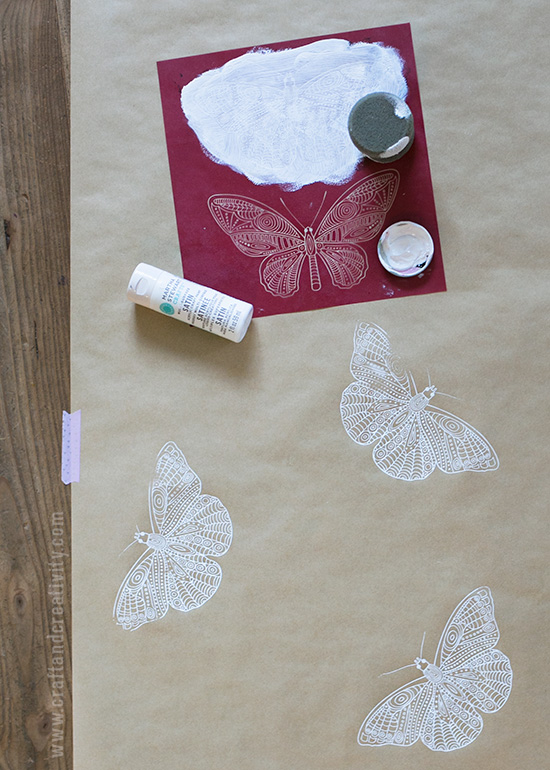 Stencil painted wrapping paper - by Craft & Creativity
