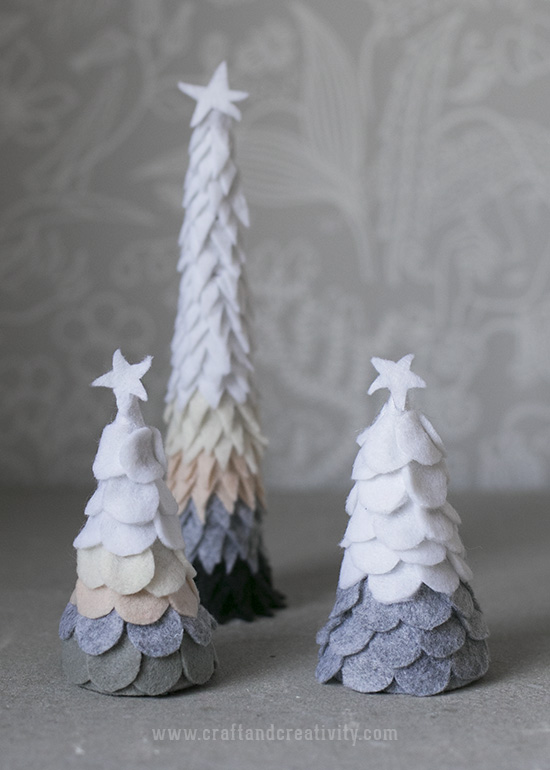 Snow covered felt fir trees - by Craft & Creativity