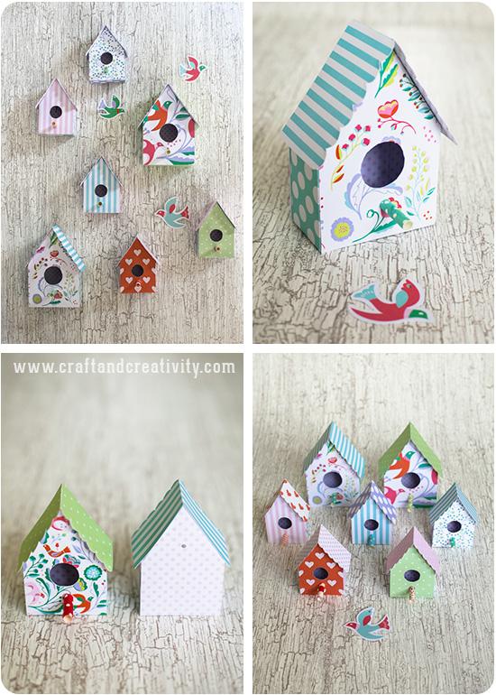 nichoir de papier avec le modèle - par Craft & Créativité